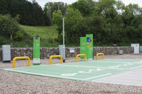 Electric vehicle fast-charge point at Topaz in Coolshannagh, Monaghan