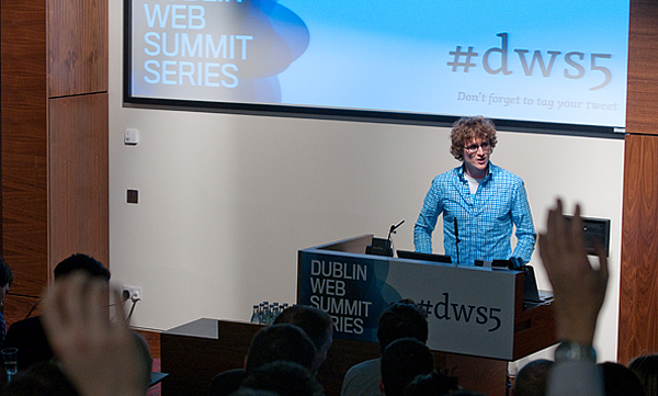 Paddy Cosgrave, event organiser, addressing the crowd at #dws5. Credit: DWS