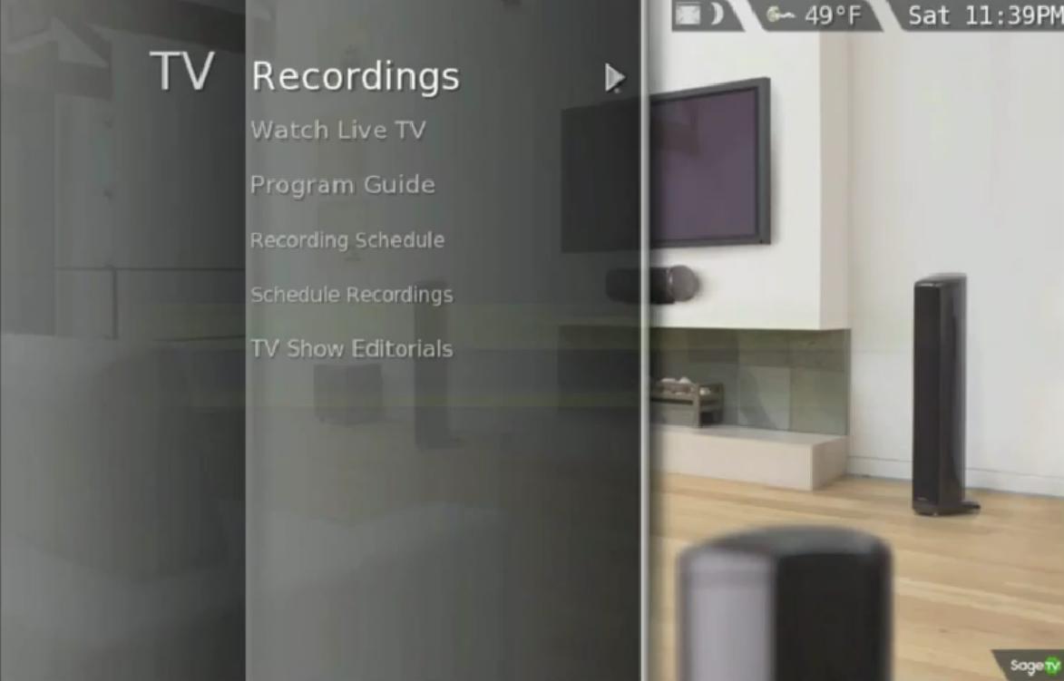 SageTV interface