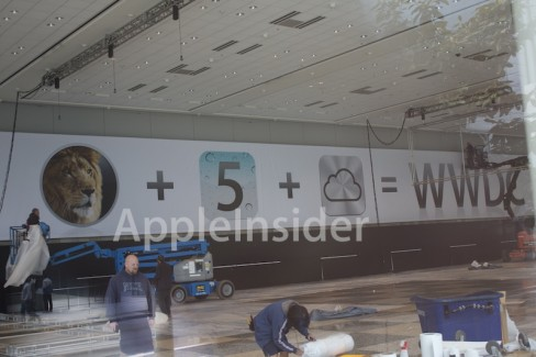 Preparatory work ongoing at WWDC 2011. Credit: Apple Insider