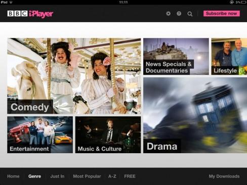 BBC global iPlayer app screenshot