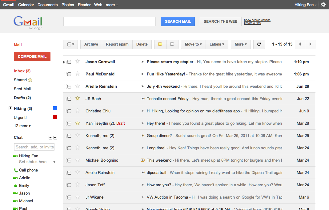 The new clean look Gmail interface