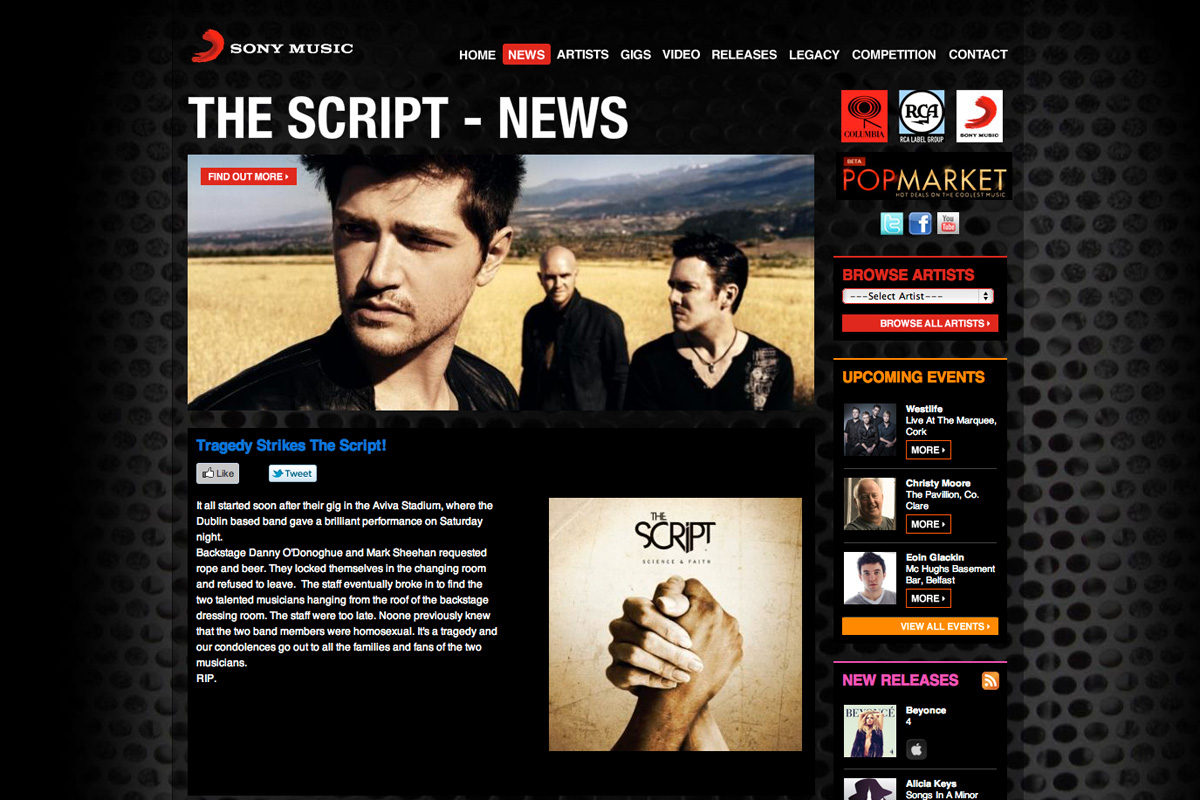 Two members of The Script commit suicide