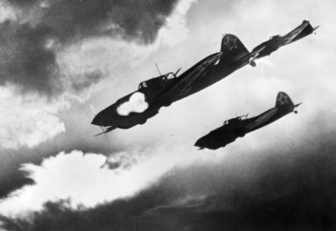 Soviet IL-2 combat aircraft attack an enemy formation. The Kursk Bulge (Operation Citadel), The Voronezh Front, Russia.
