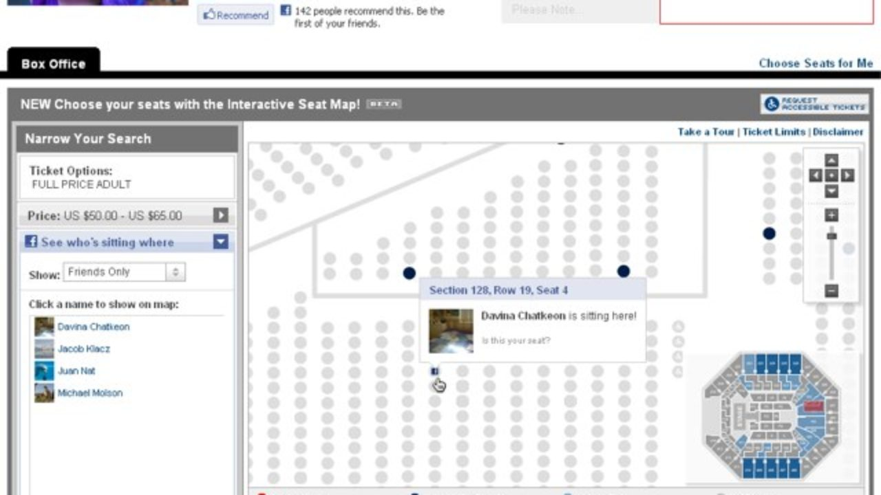 Ticketmaster lets you see where your friends are sitting with new