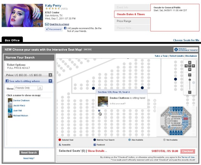 Ticketmaster interactive seat map for Katy Perry concert