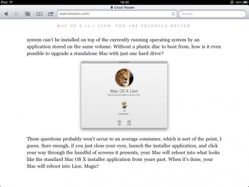 Kindle Cloud Reader screenshot