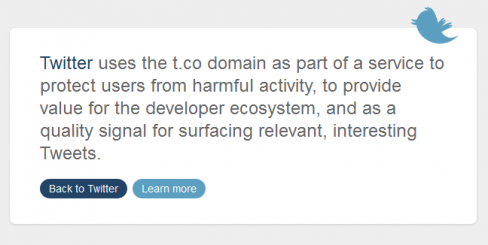 Twitter's t.co homepage