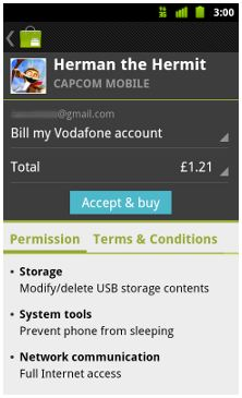 Vodafone operator billing in Android Market
