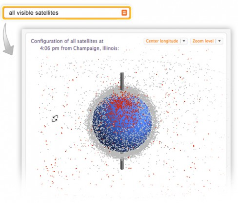 Interactive view of all visible satellites using CDF
