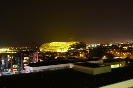 The view of the Aviva Stadium at night from Google's Dublin offices