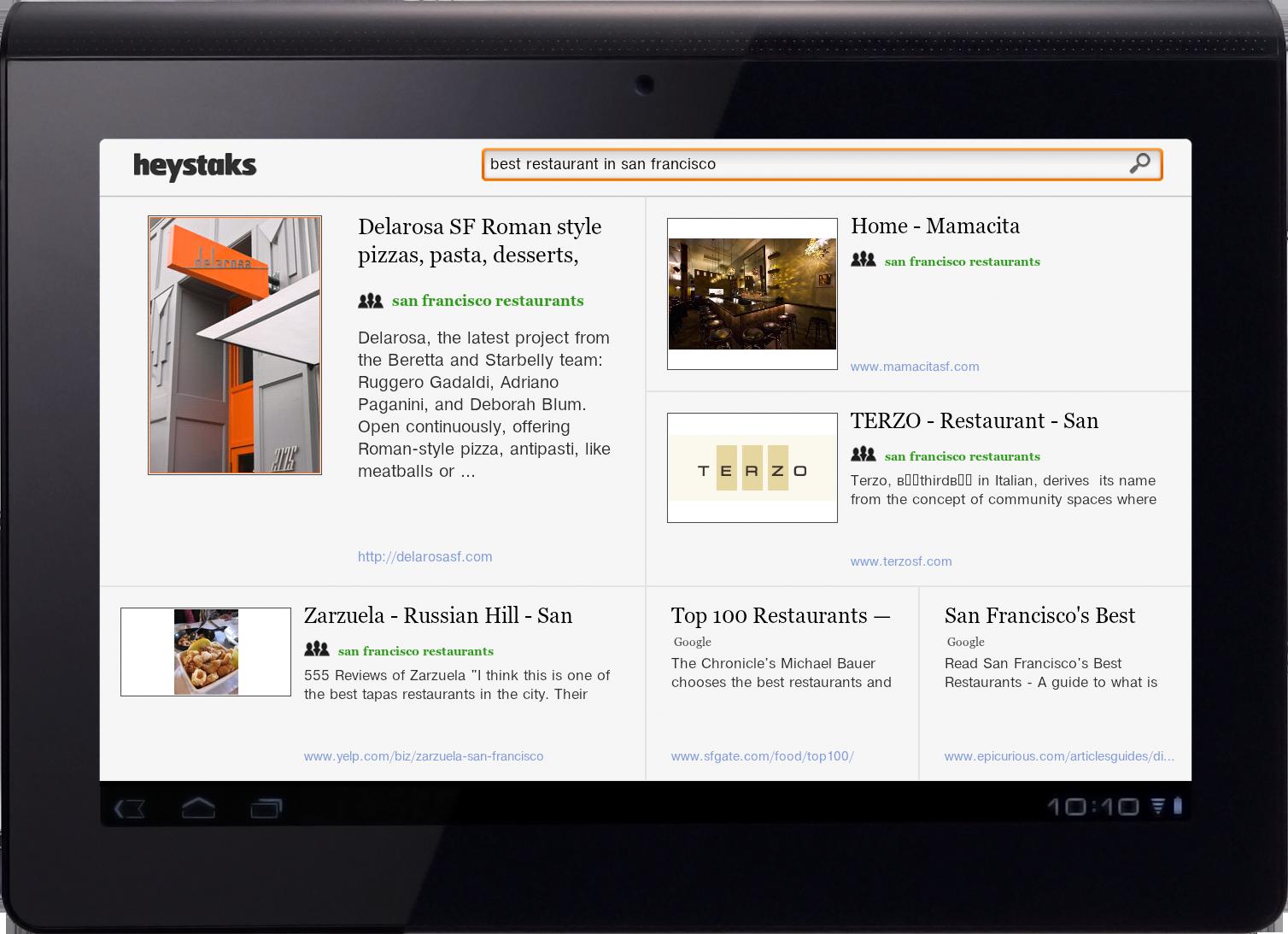 HeyStaks on Sony's recently released Tablet S