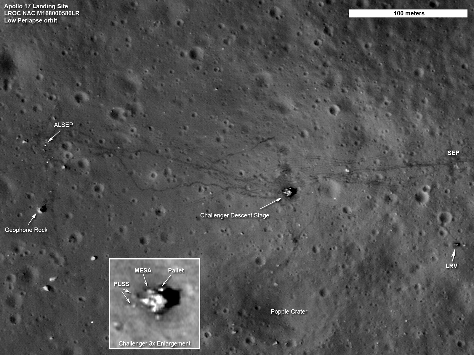 NASA Lunar Reconnaissance Orbiter image of Apollo landing sites