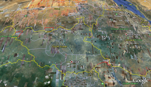 South Sudan on Google Earth
