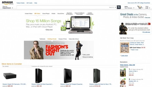 Screenshot of Amazon's redesign tablet-friendly website
