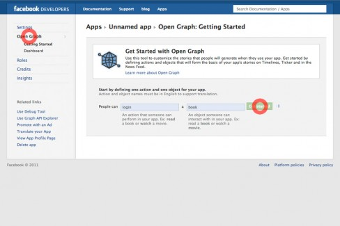 3. Click on Open Graph, type in any action and object and click Get Started.