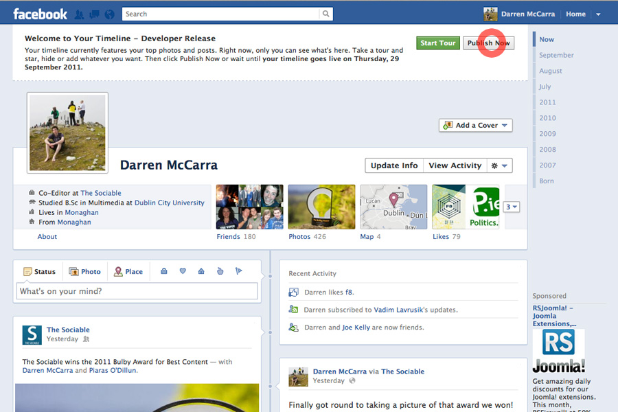 6. You'll now see your new developer release Facebook profile. Click Publish Now to make it stick and you're done!