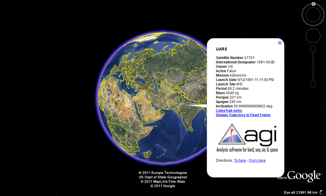 UARS tracked on Google Earth