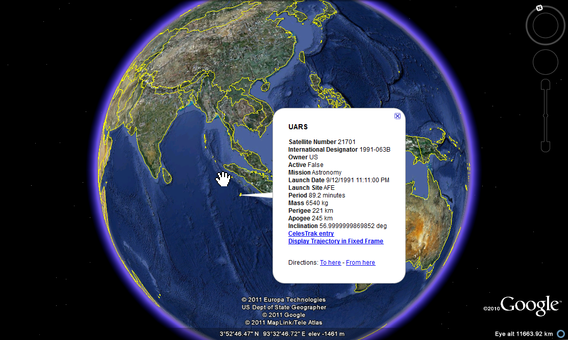 UARS last know location on Google Earth