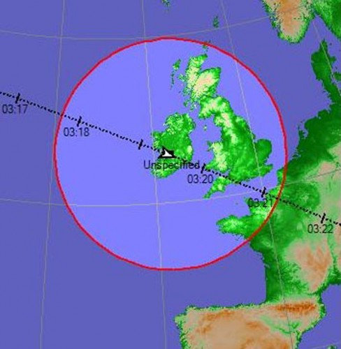 UARS projected path over Ireland on Friday morning at 03:19am