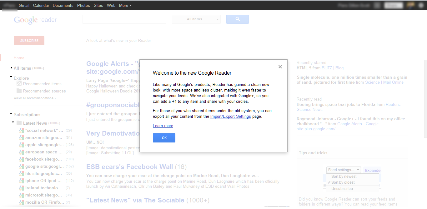 Google Reader's Update