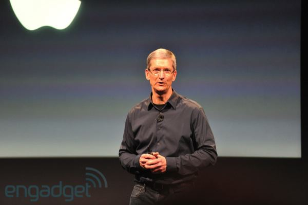 Apple CEO Tim Cook speaking at the iPhone event in Cupertino, California