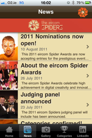 eircom Spider Awards' iOS app