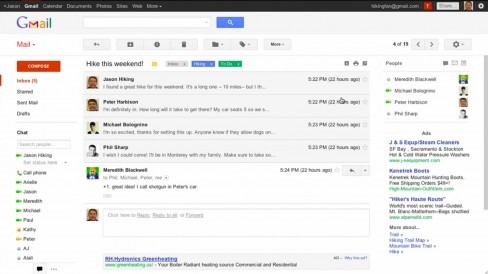 New look conversations in Gmail