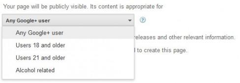 Google+ age settings