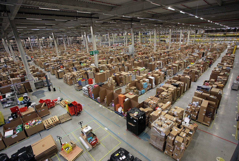 An Amazon Fulfillment Centre in south Wales. Credit: dailymail.co.uk