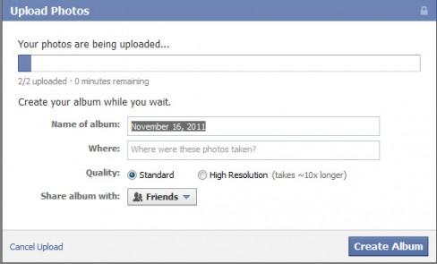Facebook current photo uploader