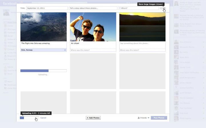 Facebook's new photo uploader