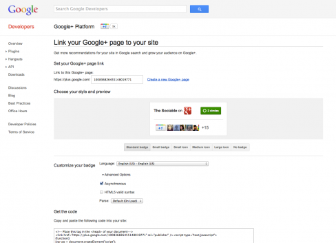 The Sociable's brand new Google+ page's badge