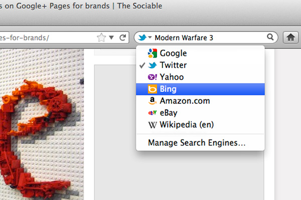 Select Twitter from Firefox's search options menu