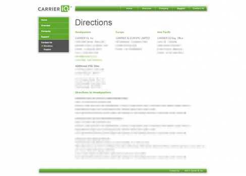 Carrier IQ Contact Us page
