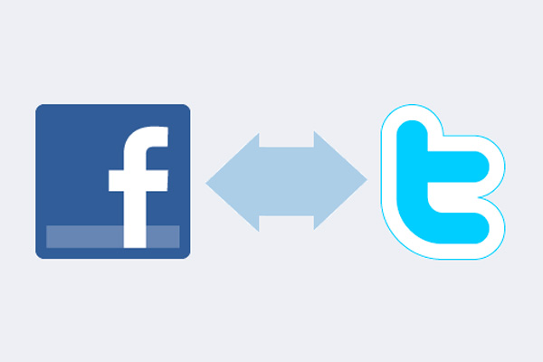 Reciprocal link Twitter and Facebook accounts
