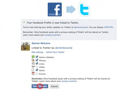 Choose what kind of Facebook updates are shared to Twitter