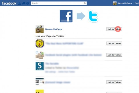 Select which Facebook profile or page to link to Twitter