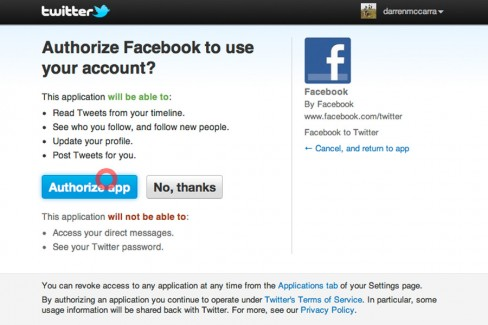 Authorise Facebook to publish updates to your Twitter account