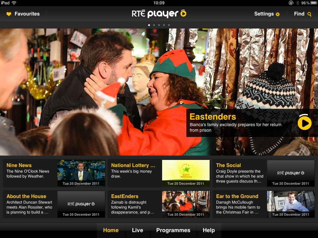 Home screen of the RTÉ Player app on the iPad