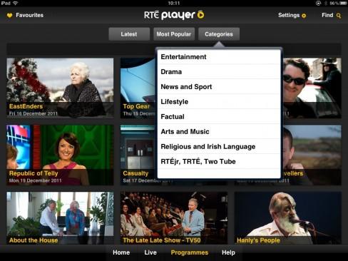 RTÉ Player iPad app content categories