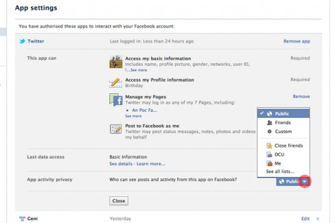 Determine who sees your Twitter updates when posted to Facebook