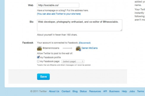 Select which Facebook profile or page to share tweets to
