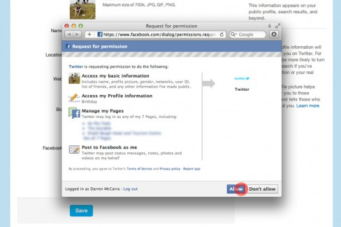 Grant Twitter access to publish to Facebook