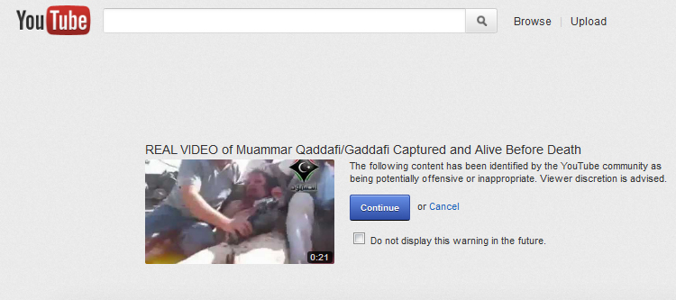 Screen shot of YouTube showing warning message