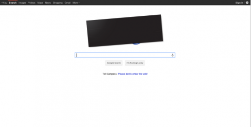 Google homepage's blacked out SOPA logo