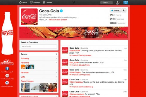Coca-Cola's current brand page on Twitter