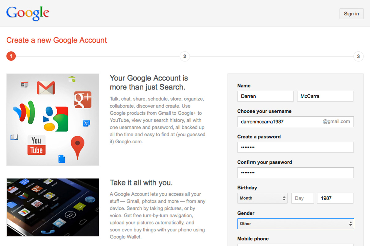 Google's new account sign-up page