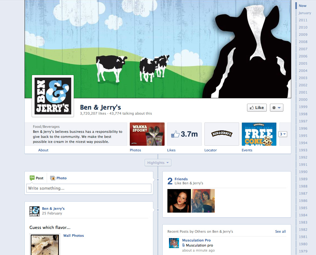 Ben & Jerry's Timeline-enabled Facebook page