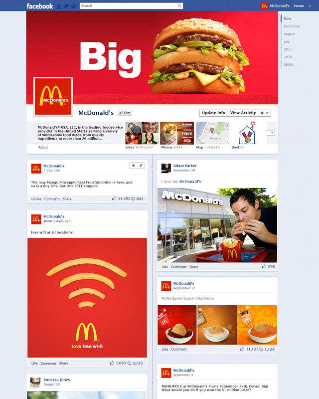 McDonald's Timeline for brands mock by VITRO
